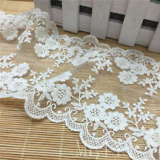 1 Yards Scalloped Double Edge Blossom Cotton Embroidered Lace Trim Wedding White