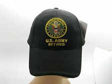 U S Army Retired Cap Hat Black Embroidered Crest Adjustable Back New Military