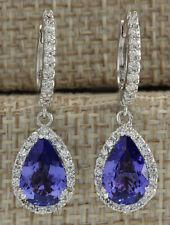 3.94 Carat Natural Tanzanite 14K White Gold Diamond Earrings