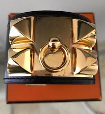 New Authentic Hermes Collier De Chien CDC Black Leather Gold Hardware Bracelet S