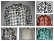 ladies check crinkle chiffon full sleeve collar shirt blouse plus size 14-32