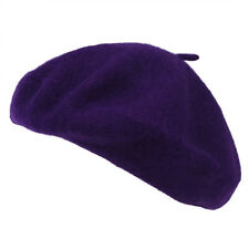 Beret Artiste Francais Couleur Pleine Laine Fille Hiver violet O8X3