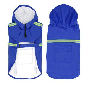 Pet Dog Reflective Rain Coat Hooded Vest Jacket Puppy Waterproof Clothes Outdoor