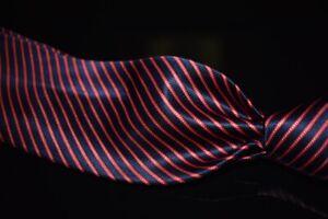 Italo Ferretti Made in Italy Navy Liquid Gloss Satin Red Dotted Stripe Silk Tie