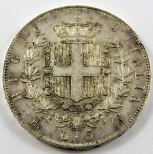 ITALY 1873 M BN 5 LIRE SILVER COIN AU CONDITION .7234 OZ. SEE PICS