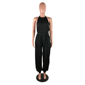 Women Sleeveless Solid Color Side High Slit Casual Club Party Evening Jumpsuit