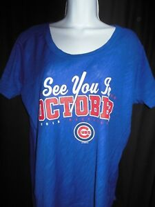 Chicago Cubs Women's GIII 4her See You In October Shirt