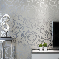 Grey Classic Luxury 3D Floral Embossed Textured Wall Paper Modern Wallpaper