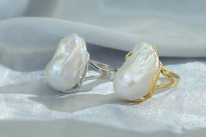 D13 Ring Baroque Pearl 925 Sterling