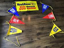 NOS Ken L Ration Dog Food 1960 Amateur Dog Show Advertising Banner W/ Flags SIGN