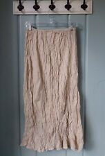 CP Shades Womens Medium Beige 100% Linen Crinkle Modest Maxi Skirt Lagenlook USA