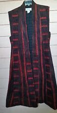VINTAGE 70'S ANOKHI HANDWORKS QUILTED COTTON SLEEVELESS MAXI VEST DUSTER COAT M