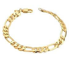 UN3F 18K Yellow Gold Plating Women Men Bracelet Curb Chain Fashion Bangle Jewelr