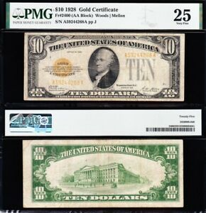 NICE Bold & Crisp VF 1928 $10 GOLD CERTIFICATE! PMG 25! FREE SHIPPING! 44268A