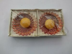 Pair Of Petalcraft Amber Glass Floating Candle Bowls With Candles - Box Unopened