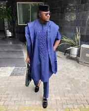 Navy Blue Agbada Babariga 3 Pcs African Men's Clothing African Fashion Wear