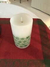 "Luminara Real Flame-Effect Flameless Candle 7"" White With Green Starlight Mints."