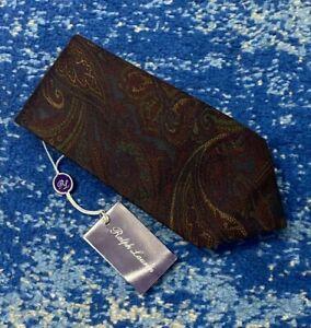 NEW Ralph Lauren Purple Label Burgundy Blue Green Camel Cashmere Paisley Necktie