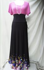 LULAROE LARGE, RIBBED, STRETCHY, PINK CLASSIC T & MED BLACK, DIPPED, FLORAL MAXI