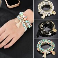 6Pcs/Set New Women Boho Ethnic Multilayer Tassel Beads Bracelet Bangle Jewelry
