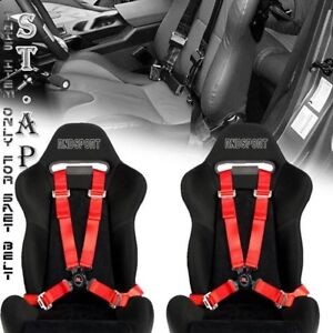 """Universal New Jdm Tow 4 Point Safety Harness Camlock 2"""" Inch Strap Seat Belt Red"""