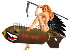 Nude Angel of Death with sickle on bomb Pinup Girl Decals Waterslide S952