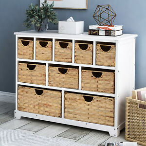 LIFE CARVER Large Storage Chest of Drawers with Baskets Side Cabinet 10 drawers