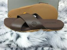 NEW TIMBERLAND MEN'S SANDALS SEATON BAY STRAP BROWN LEATHER SIZE UK 8.5 RRP £65