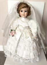 Porcelain Doll with Satin Wedding Dress & Lace Veil 17� Vintage Great Condition