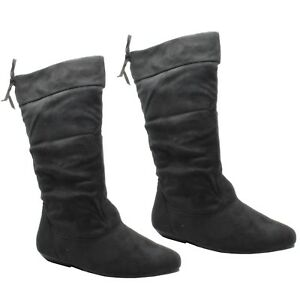 Womens Ladies Suede MidCalf Pull On Flat Boots Shoes Black Fashion Size FB-491 F