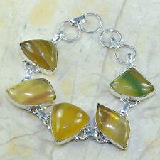 "Natural Fluorite Gemstone 100% Pure 925 Sterling Silver Bracelet 8.75"" #C38873"