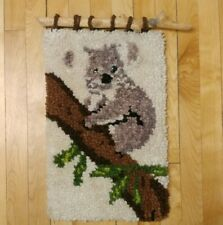Vintage Latch Hook Rug Wall Hanging Art Koala Hanging from Wood Raised Face