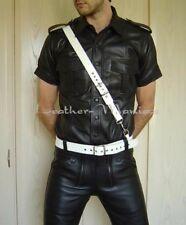 Sam Brown Belt White - Shoulder Strap And Belt Made Of White Leather Leather