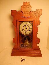 New Haven Oak Wood 1889 Shelf Mantle 8 Day Clock & Key