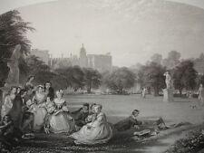 """GRAVURE 1860 """" Un jour d'été à Hampton-Court """" J.D Wingfield  370x260"""