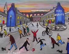 STREET FOOTBALL ORIGINALE Nord ART COLOURIST Pittura ad Olio tela: Phil Lewis