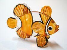 Underwater Handicraft MINI Folk Art HAND BLOWN GLASS Orange CLOWN Fish FIGURINE