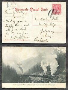 p1418 - BURNABY LAKE BC 1908 Split Ring on Train in Rockies Postcard to England✉
