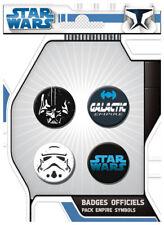 Star Wars  Jedi - Lot 4 badges / pins : Dark Vador Stormtrooper Galactic empire