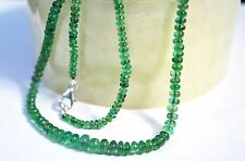 100% Natural Zambian EMERALD Smooth Plain Roundel Beads 18 Inch 925 Silver Clasp