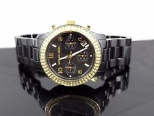 Michael Kors MK5270 Runway Black Ceramic Chronograph Crystal Women's Watch $495