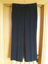 Berkertex black evening trousers uk 12 eu 38 sequin beaded lace waistband vgc