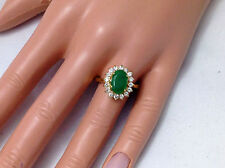 2.82Ct Genuine Natural Emerald & Diamond Ring Solid 14K Yello Gold, Oval Shape