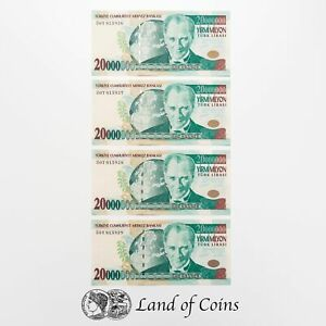 TURKEY: 4 x 20,000,000 Turkish Lira Banknotes.
