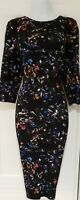 Womens Phase Eight Black Floral Stretch Heavy Material Midi Bodycon Dress 12.