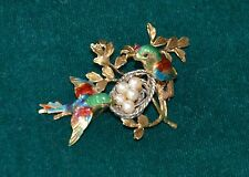 Vintage Estate 18 K Yellow Gold Ruby Enamel Birds w/ Nest Pearl Eggs Brooch Pin