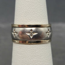 Vintage 925 Sterling Silver Ring Band with Flowers 10k  Size 5
