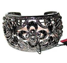 Lady Jet Black Crystal Vintage Antique Filigree Adjustable Cuff Flower Bracelet