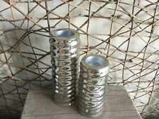 Parlane silver mirror wave tea light candlesticks set of 2