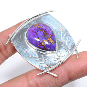 "Copper Mohave Purple Turquoise Oxidize 925 Sterling Silver Pendant 1.9"" S2666"